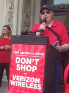 Chairman Jack Cohen speaks at massive union rally in Trenton, NJ.