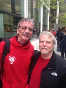 BellTel board member Tom Steed (left) with CWA Local 1101 President Keith Purse at NYC union protest.