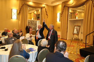 BellTel founders C. William Jones and Robert Rehm are given a warm welcome at the Tarrytown meeting.